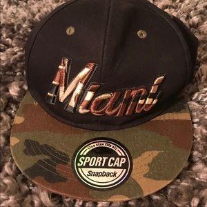 Miami SnapBack hat in camo. GUC